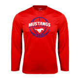 Performance Red Longsleeve Shirt-Mustangs Basketball Arched w/ Ball