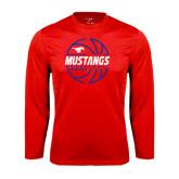 Syntrel Performance Red Longsleeve Shirt-Mustangs Basketball Lined Ball