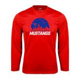 Performance Red Longsleeve Shirt-Mustangs Basketball Dallas Skyline