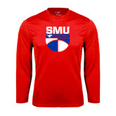 Performance Red Longsleeve Shirt-SMU Basketball Stacked on Ball