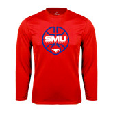 Performance Red Longsleeve Shirt-SMU Basketball Block Stacked in Circle