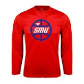 Syntrel Performance Red Longsleeve Shirt-SMU Basketball Block in Circle