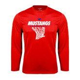 Syntrel Performance Red Longsleeve Shirt-Mustangs Basketball Stacked w/ Net