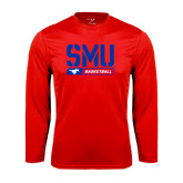 Syntrel Performance Red Longsleeve Shirt-SMU Basketball Stencil