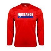 Syntrel Performance Red Longsleeve Shirt-Mustangs Basketball Stacked Bar