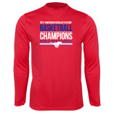 Performance Red Longsleeve Shirt-2017 AAC Regular Season Mens Basketball Champions Stacked