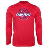 Performance Red Longsleeve Shirt-AAC Regular Season Champions 2017 Mens Basketball Lined Ball