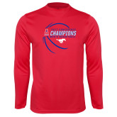 Performance Red Longsleeve Shirt-2017 AAC Conference Champions - Mens Basketball Contour Lines
