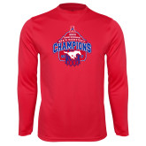 Performance Red Longsleeve Shirt-2017 AAC Conference Champions - Mens Basketball Arched Net