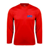 Performance Red Longsleeve Shirt-Block SMU