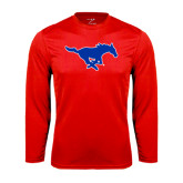 Performance Red Longsleeve Shirt-Official Outlined Logo