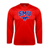 Performance Red Longsleeve Shirt-SMU w/Mustang