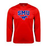 Syntrel Performance Red Longsleeve Shirt-SMU w/Mustang