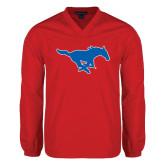 V Neck Red Raglan Windshirt-Official Outlined Logo