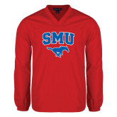 V Neck Red Raglan Windshirt-SMU w/Mustang