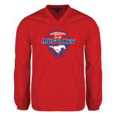 V Neck Red Raglan Windshirt-Mustangs in Shield