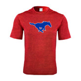 Performance Red Heather Contender Tee-Official Outlined Logo