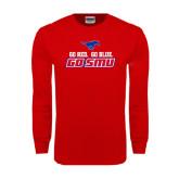 Red Long Sleeve T Shirt-Go Red Go Blue Go SMU