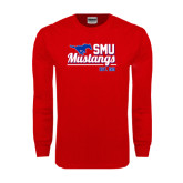 Red Long Sleeve T Shirt-Stacked SMU Mustangs Design