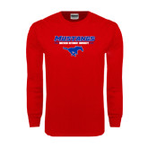 Red Long Sleeve T Shirt-Stacked Athletic Mustangs Design
