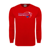 Red Long Sleeve T Shirt-Football Outline Design