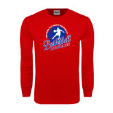 Red Long Sleeve T Shirt-Player on Basketball Design
