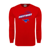 Red Long Sleeve T Shirt-Angled Basketball Design