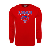 Red Long Sleeve T Shirt-Stacked Basketball Design