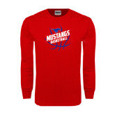 Red Long Sleeve T Shirt-Angled Mustangs in Basketball