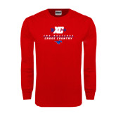 Red Long Sleeve T Shirt-Stacked Cross Country Design