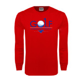 Red Long Sleeve T Shirt-Stacked Golf Design