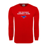 Red Long Sleeve T Shirt-Stacked Swim and Dive Design