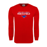 Red Long Sleeve T Shirt-Track and Field Stacked Design