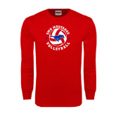 Red Long Sleeve T Shirt-Mustang on Volleyball