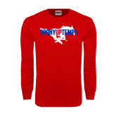 Red Long Sleeve T Shirt-#PonyUpTempo Flat