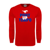 Red Long Sleeve T Shirt-Pony Up Tempo Stacked
