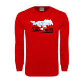 Red Long Sleeve T Shirt-#PonyUpTempo Lock Arms
