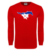 Red Long Sleeve T Shirt-Dallas Skyline Logo