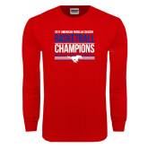 Red Long Sleeve T Shirt-2017 AAC Regular Season Mens Basketball Champions Stacked