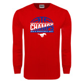 Red Long Sleeve T Shirt-2017 AAC Regular Season Champs - Mens Basketball Half Ball