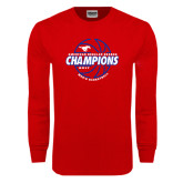 Red Long Sleeve T Shirt-AAC Regular Season Champions 2017 Mens Basketball Lined Ball