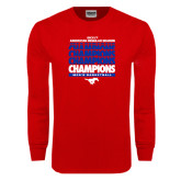 Red Long Sleeve T Shirt-2017 AAC Regular Season Champions Repeating - Mens Basketball