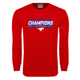 Red Long Sleeve T Shirt-2017 AAC Regular Season Champions - Mens Basketball Stencil