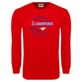 Red Long Sleeve T Shirt-2017 AAC Conference Champions - Mens Basketball Contour Lines