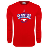 Red Long Sleeve T Shirt-2017 AAC Conference Champions - Mens Basketball Arched Banner