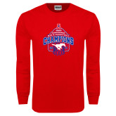Red Long Sleeve T Shirt-2017 AAC Conference Champions - Mens Basketball Arched Net