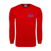 Red Long Sleeve T Shirt-Block SMU