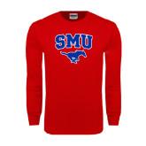 Red Long Sleeve T Shirt-SMU w/Mustang