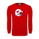 Red Long Sleeve T Shirt-SMU Football Helmet