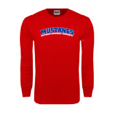 Red Long Sleeve T Shirt-Arched Mustangs